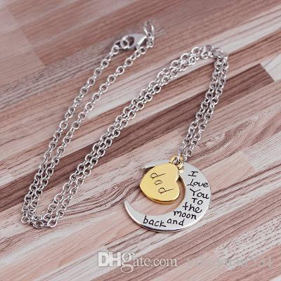 Hot Heart I love you to the Moon and Back Mom Pendant Necklace Mother Day Gift Wholesale Fashion Jewelry