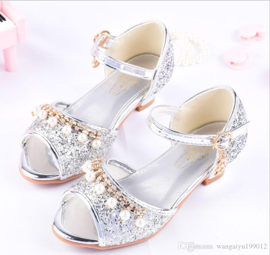 2019 summer girls princess dance shoes high heel sandals children shiny crystal small chair piano dress performance shoes