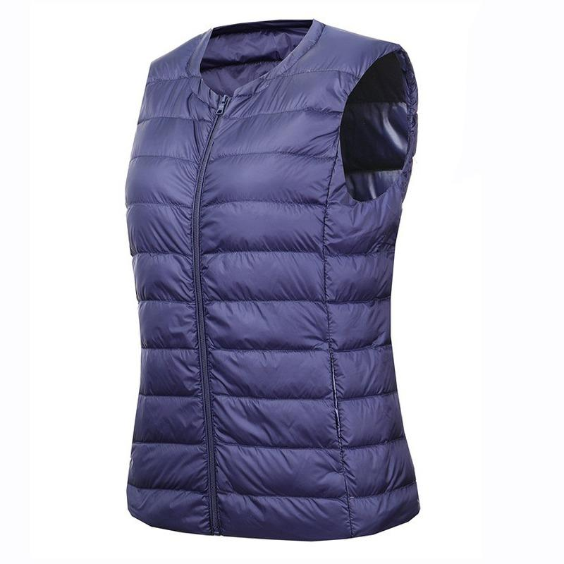 Winter Waistcoat for Women Down Coats Vest Plus Size 7XL Sleeveless Collarless Duck Liner Warm Down Jacket Pink Black Blue