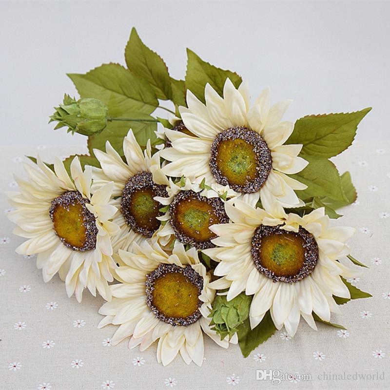 1 꽃다발 13 머리 레트로 유럽 스타일의 유화 느낌 화이트 해바라기 인공 꽃 50CM