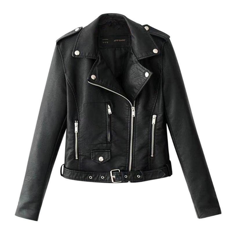 Frauen-Damen-Revers-Motor-Jacken-Mantel mit Reißverschluss Biker Short Punk geerntete Tops-Motorrad PU-Leder-Jacken Damen-grundlegende Straße Mantel Q