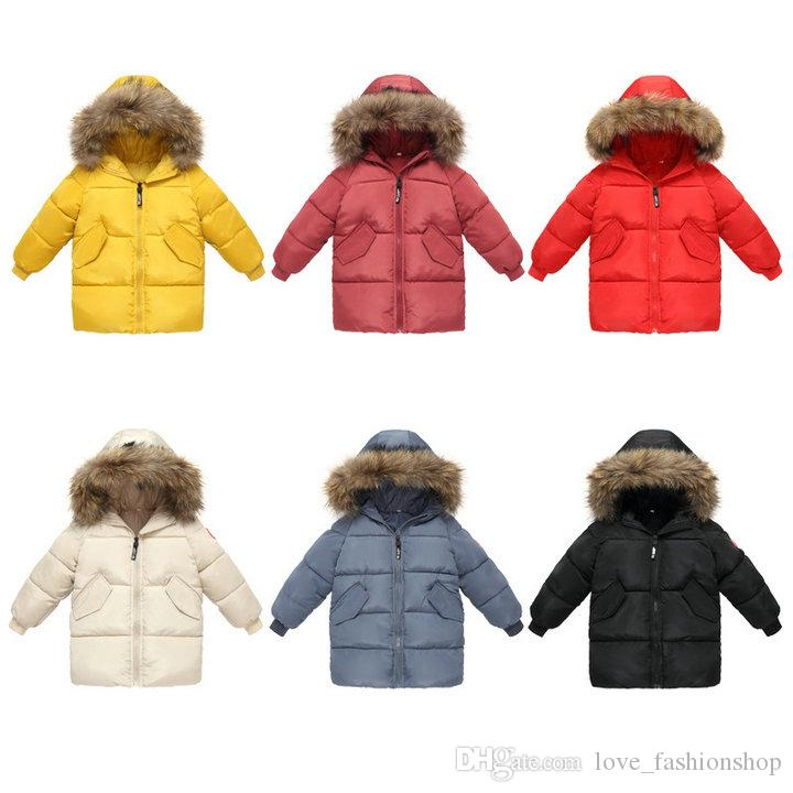 Kids Girls Boys Slim Cotton Quilted Hooded Down Jacket Winter Long Padded Coat