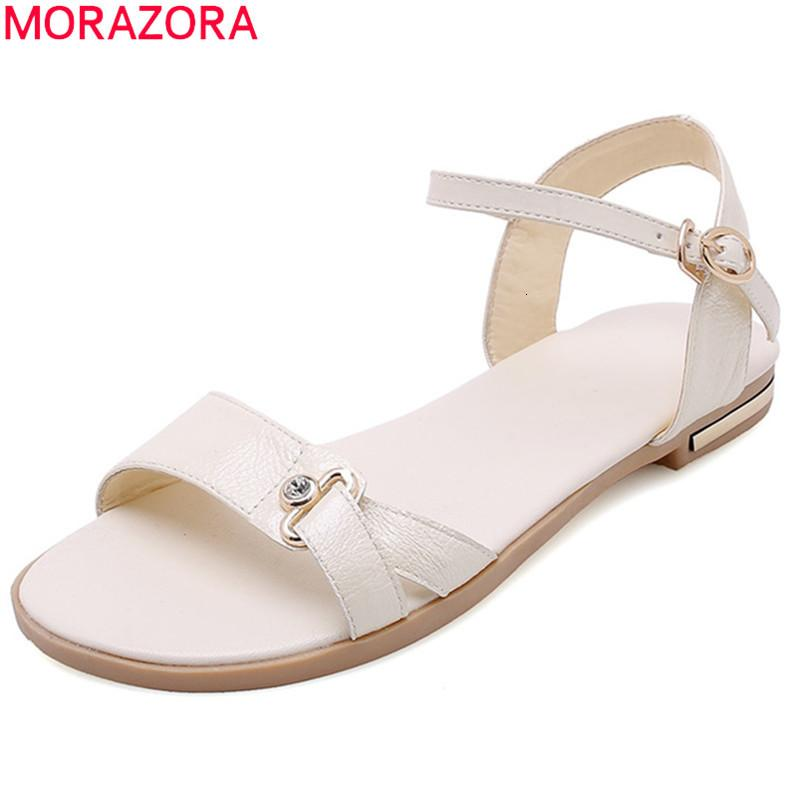 neuer MORAZORA heißen Verkauf 2020 Frauensandelholze echtes Leder Schnalle einfache Sommermode flache Strandschuhe Frauen