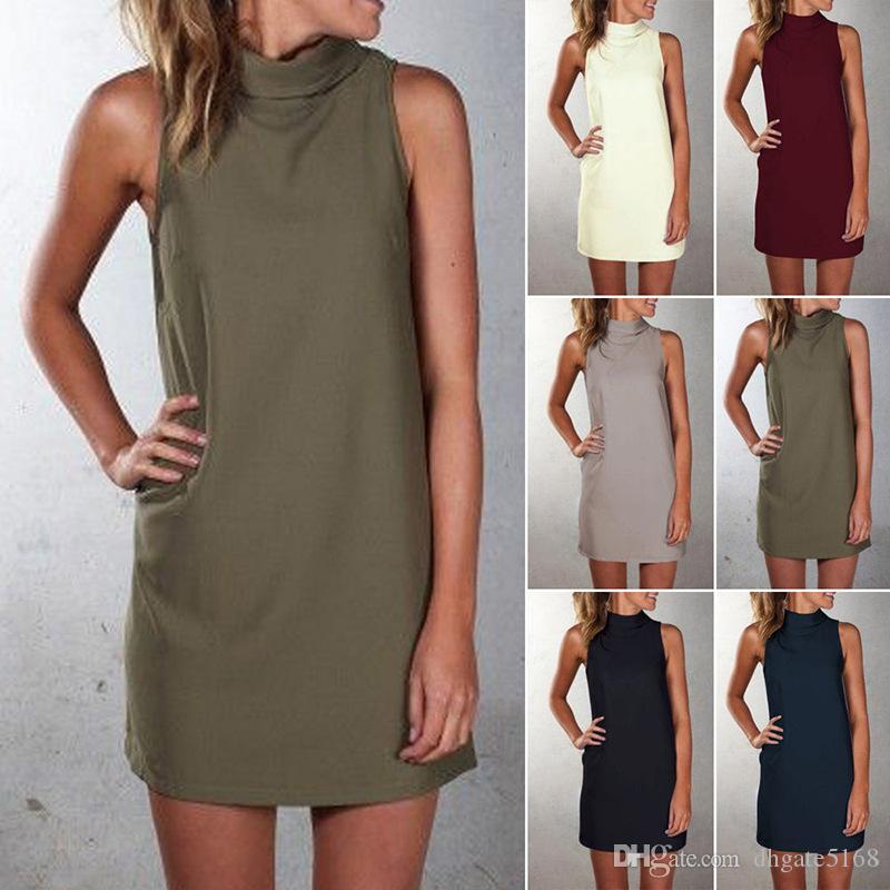Kadın Kaplumbağa Boyun Kolsuz Gevşek Kısa Düz Elbiseler Casual Kısa t gömlek diz üstü Mini Elbise