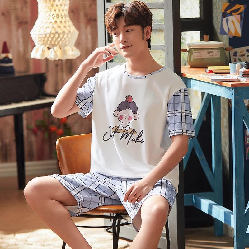 cotone a maniche corte pigiama di estate del vestito pigiami da uomo giovani abbigliamento casual sottile casa vestito può essere al di fuori usurato