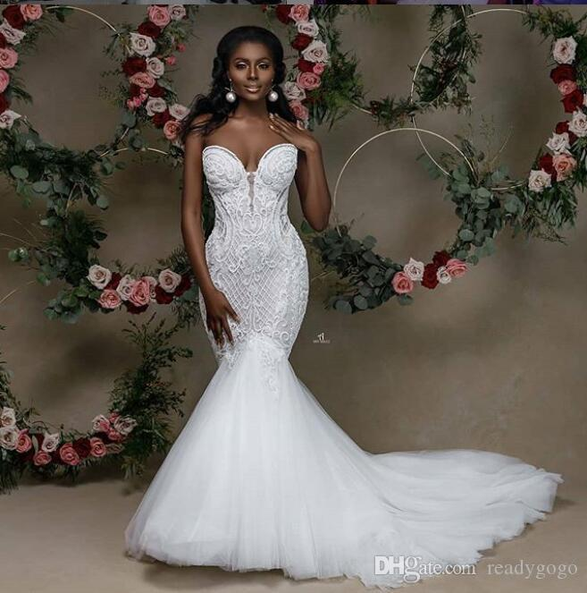 Sexy Sweetheart Mermaid Wedding Dresses 2020 Modern Lace Applique Cathedral Train Backless Trumpet African Bride Second Wedding Gown
