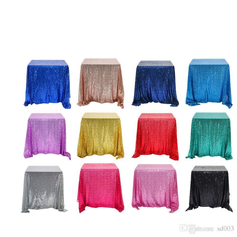 Sirena lentejuelas mesa de mesa cuadrado color puro artículos de muebles para el hogar mantel con diferentes colores 47qq2 J1