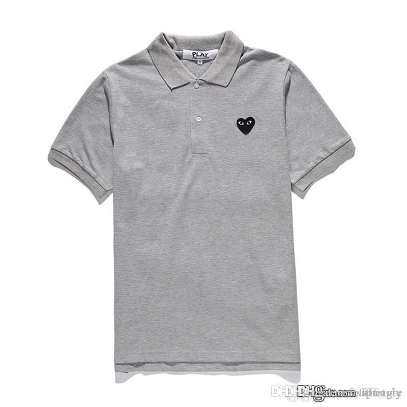 2018 새로운 패션 COM 도매 새로운 최고 품질 그레이 블랙 심장 DES GARCONS PLAY 블랙 폴로 티셔츠 M 사이즈 Made in Japan Junya Homme Plus