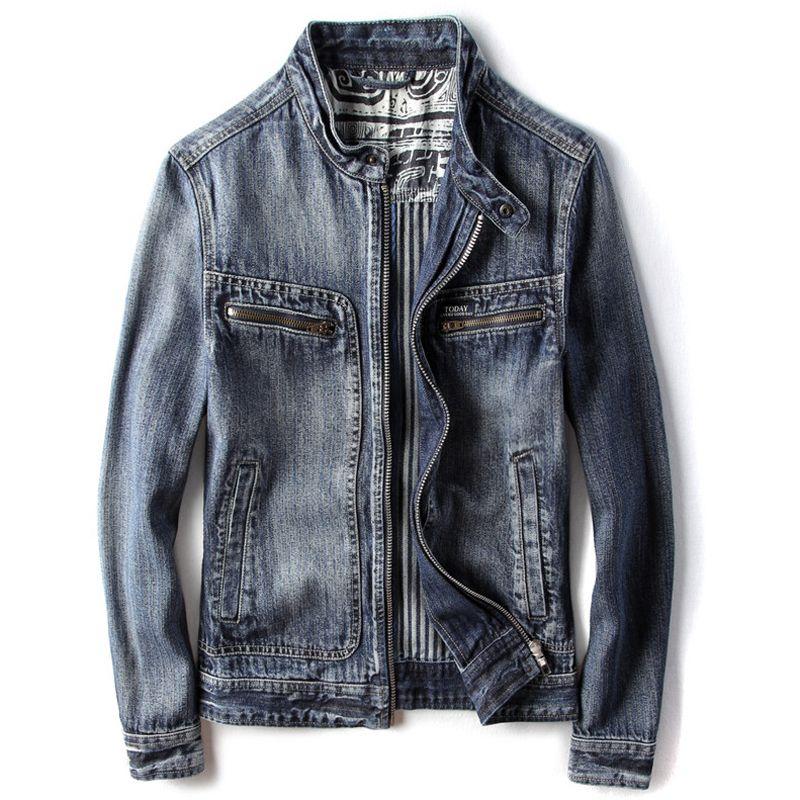 2020 повседневный полет мужская джинсовая куртка пальто весна лето байкер мужская джинсовая куртка негабаритные пальто Европейский и американский стиль A762