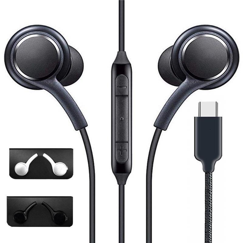 MIC 화이트 블랙 볼륨 컨트롤이있는 유형 -C 삼성 갤럭시를위한 유선 이어폰 헤드폰 10 A60 A80S S10