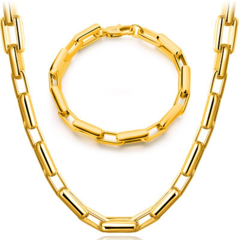 Fashion Mens Chain Necklace 18K Gold Plated Set Hip Hop Curb Cuban Necklace Chain Link Bracelet Bangle for Men Women Jewelry Gift