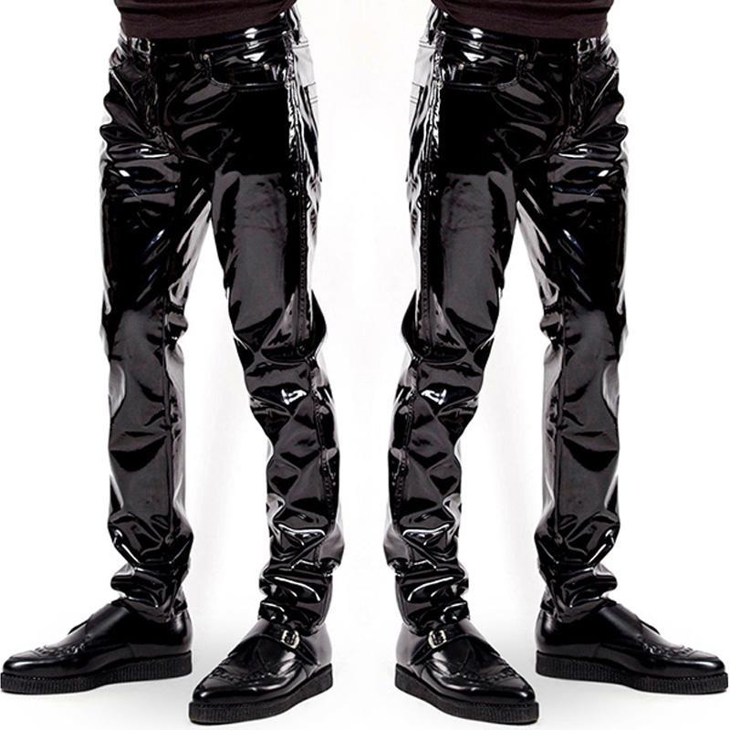 Erkek için Mens Elastik Sahte Deri PVC Pantolon Motosiklet biniyordu Siyah Slim Fit Dance Party Pantolon Wetlook Patent Deri Pantolon