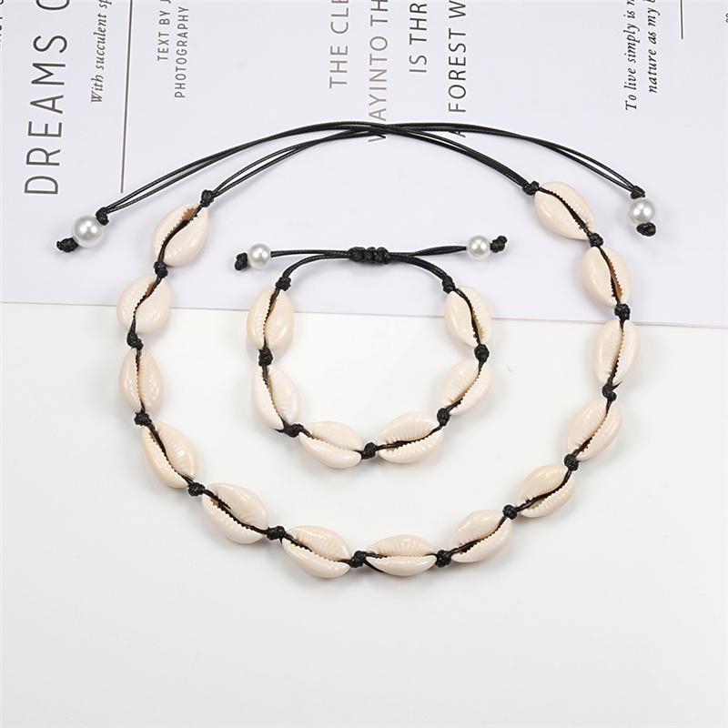 Ragazza regalo della catena della corda nera insieme collana braccialetto Boho del choker del collare donna Hawaii spiaggia di estate Jewelry