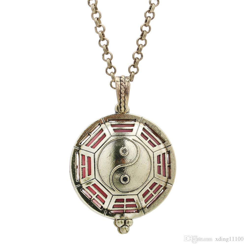 Antique Bronze Tai Ji magnétique Médaillon Openable Huile Essentielle Diffuseur Pendentif Charms Parfum d'aromathérapie avec une chaîne pour cadeau