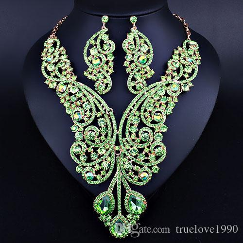 Charming Blue Silver Green Red Crystals Jewelry 2 Pieces Sets Necklace Earrings Bridal Jewelry Bridal Accessories Wedding Jewelry T227359