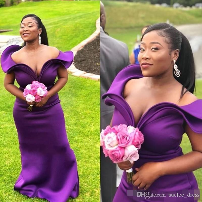 Elegant Off the Shoulder Purple Bridemsaid Dresses Ruffles Satin Plus Size Custom Made Maid of Honor Gown Wedding Guest Party Dress