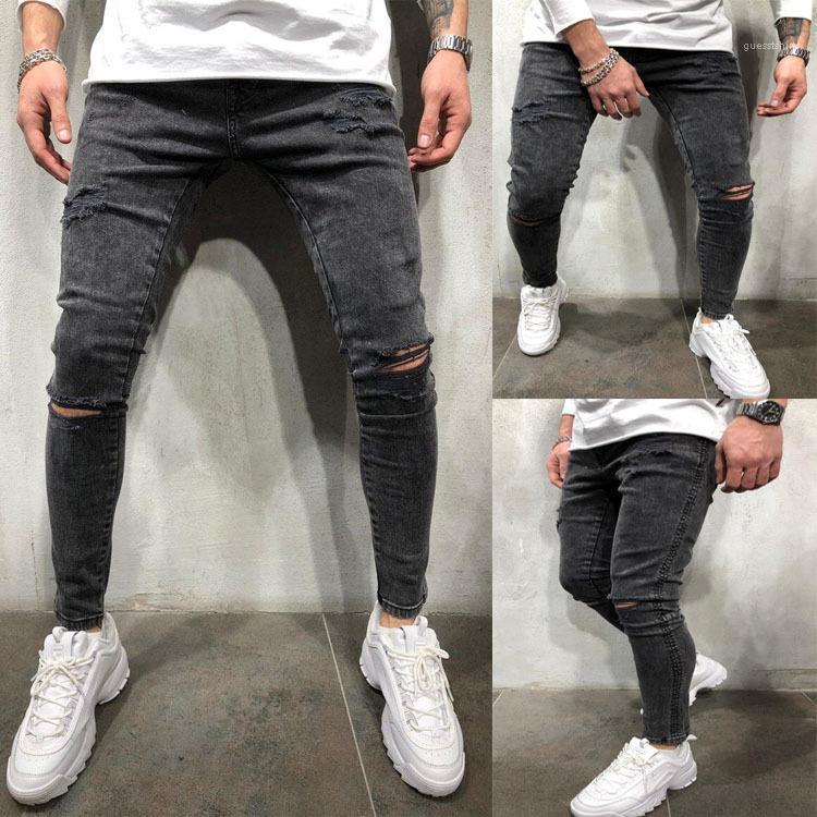 Meados cintura Zipper Jeans Fly Masculino Vestuário Mens Designer Jeans Moda Buraco Casual Pencil Calças Skinny