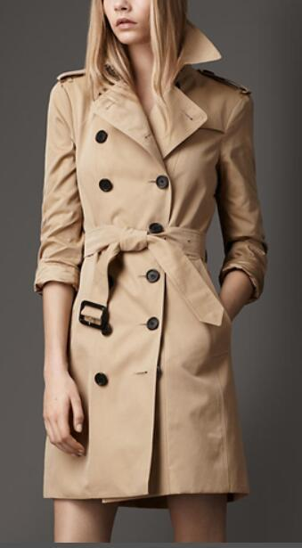 HOT CLASSIC! WOMEN ENGLAND MIDDLE LONG TRENCH COAT/TOP QUALITY BRITISH DESIGNER DOUBLE BREASTED SLIM BELTED TRENCH FOR WOMEN B82081F260