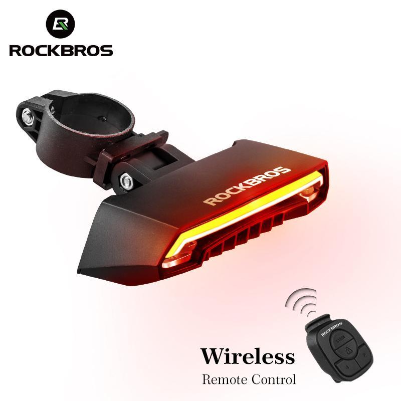 Rockbros Bicycle Usb luce di coda ricaricabile Led luci posteriori di avvertimento in bicicletta Smart Wireless telecomando segnale di svolta C19041301