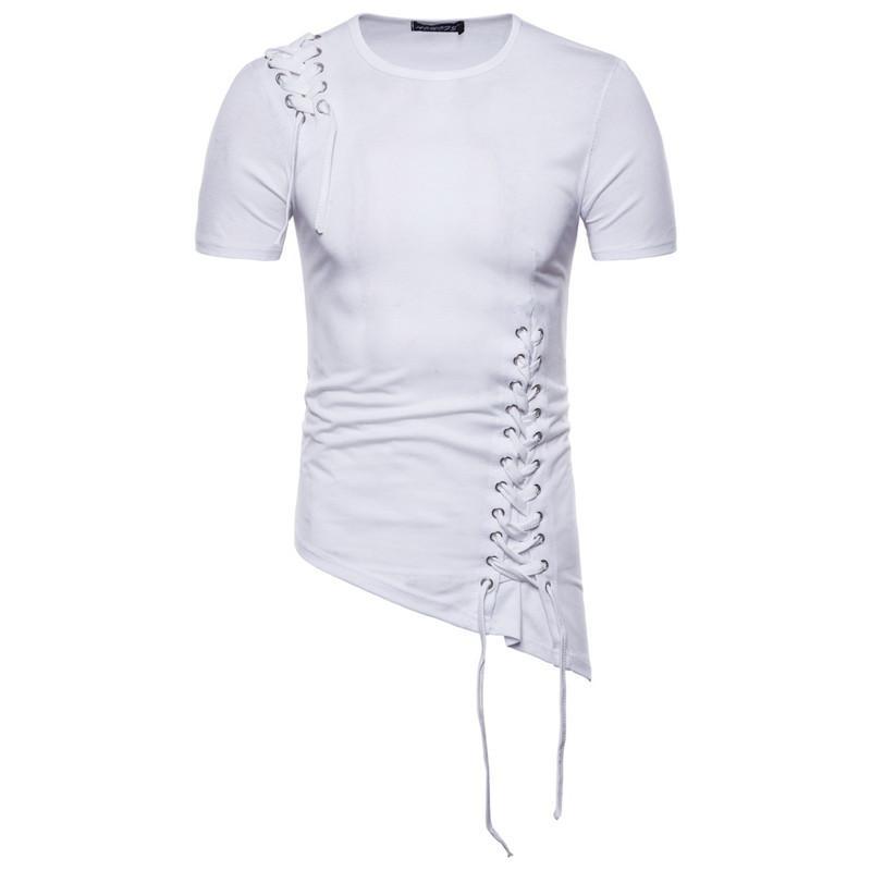 Homens Primavera Designer camisetas Moda Slim Fit Irregular Projeto Masculino Tops ombro Braid Design Roupa do Mens