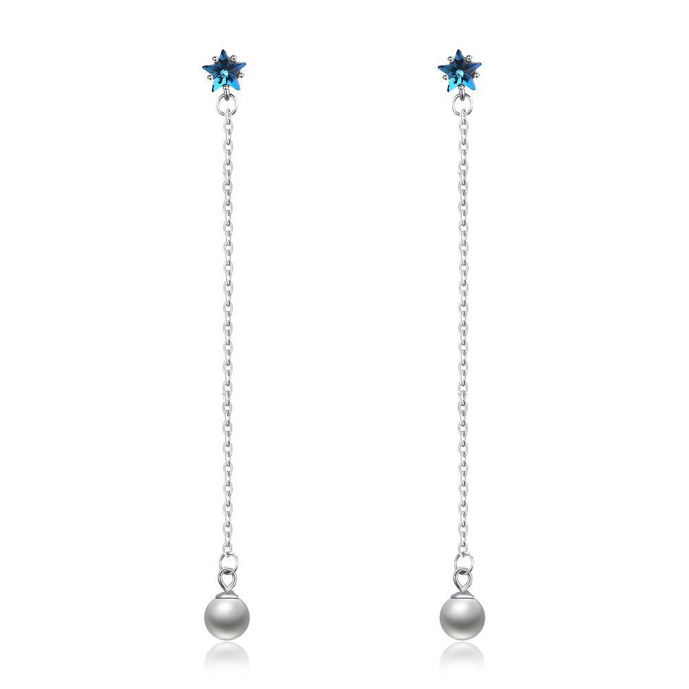 Alla moda ciondola lampadario in cristallo Swarovski Elements Da lungo Perla Argento Orecchini gioielli compleanno Simple Gifts POTALA22B