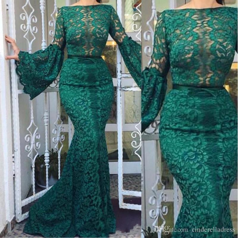 2020 Modest verde scuro Bateau Collo merletto pieno sera della sirena abiti a maniche lunghe abito di promenade delle donne vestito convenzionale Vestido De Festa