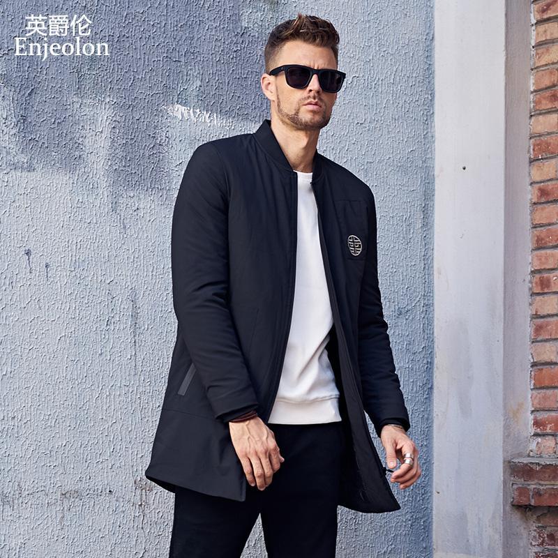 Enjeolon  Cotton Padded Jacket long coat Men Parka black printing Thick Quilted fashion plus size 3XL Coat Men MF0623