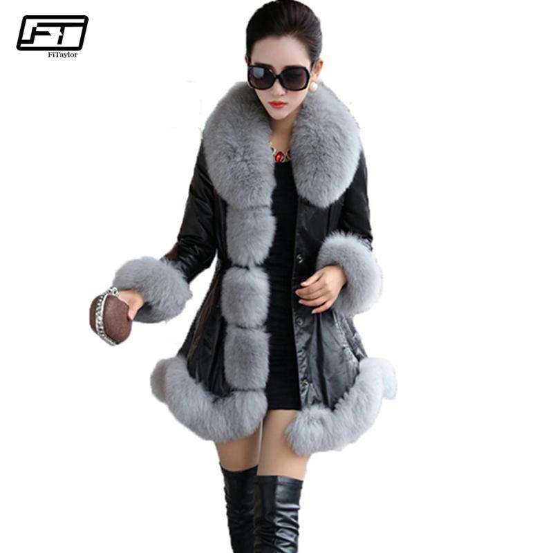 Women's Leather & Faux Fitaylor Women Winter Jacket Plus Size 6XL Pu Fur Coat Casual Long Synthetic Collar Lady Warm Overcoat