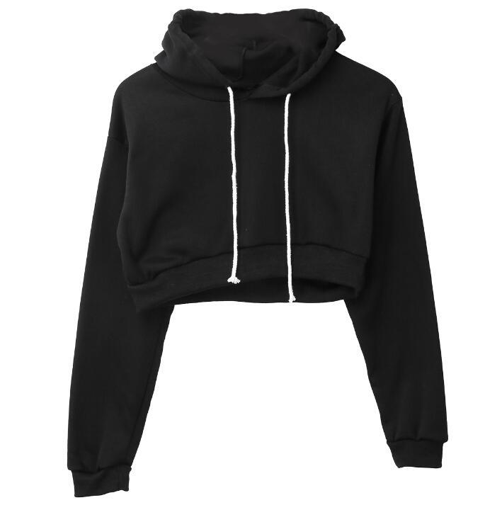 Fashion-Full Hoodie Coats Black Autumn New Brief Casual Clothes Women Ladies Clothing Tops Plain Crop Top Hooded