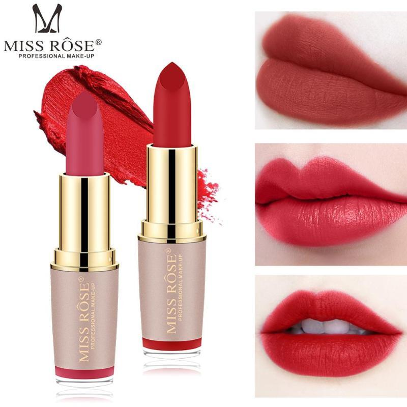 Miss Rose Lipstick Matte 12 Colors Professinal Women Cosmeticks Makeup Tools Long Lasting Easy to Wear Make up velvet Golden