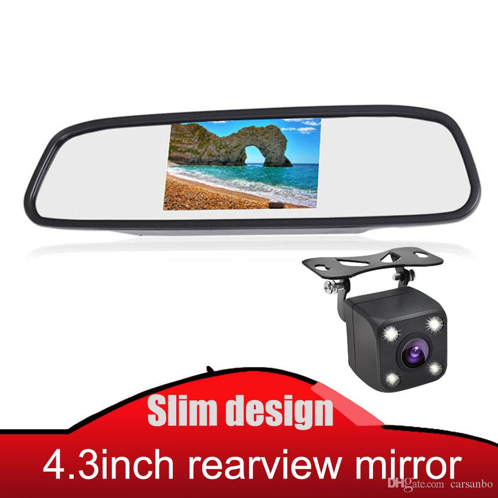 Universal vista Carro espelho retrovisor monitor TFT LED Espelho Screen Display de 4,3 polegadas Para Câmera de visão traseira Parking System reverso