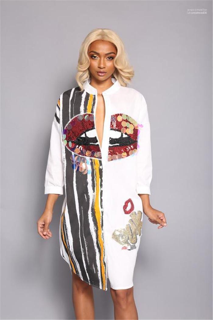 Rayé Crayon Robe Bouton De Mode Rue Robe Femmes Grande Bouche Imprimer Paillettes Chemise Robe À Manches Longues Casual