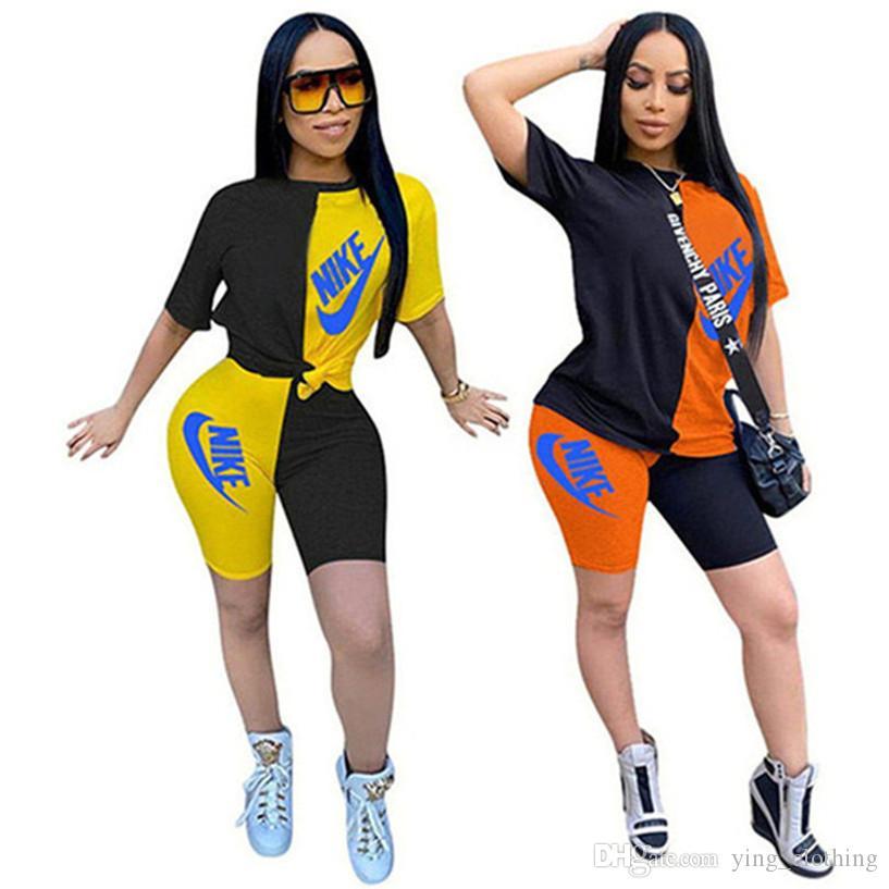 Marca Abbigliamento Donna Estate insieme delle 2 parti manica corta T-shirt + Shorts Moda Sport Suit Girocollo Outfits Lettera Jogging Suit 2852