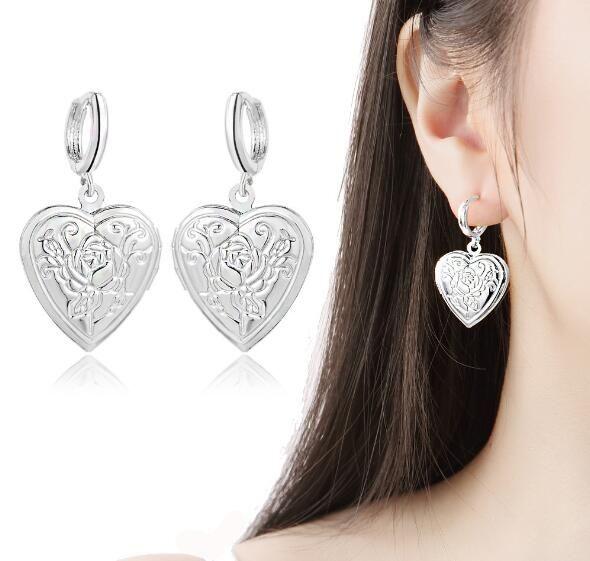 2019 новая мода Роза любовь Сердце фаза box серьги открыть можно положить фото серьги золотой серебристый Fit женщина мадам День Святого Валентина подарки