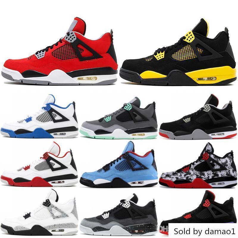 Thunder 4 4 s Erkekler Basketbol Yeni Dövme Siyah Kedi Raptor Askeri Mavi Cavs Tasarımcı Sneakers Spor Ayakkabı Boyutu 7-13