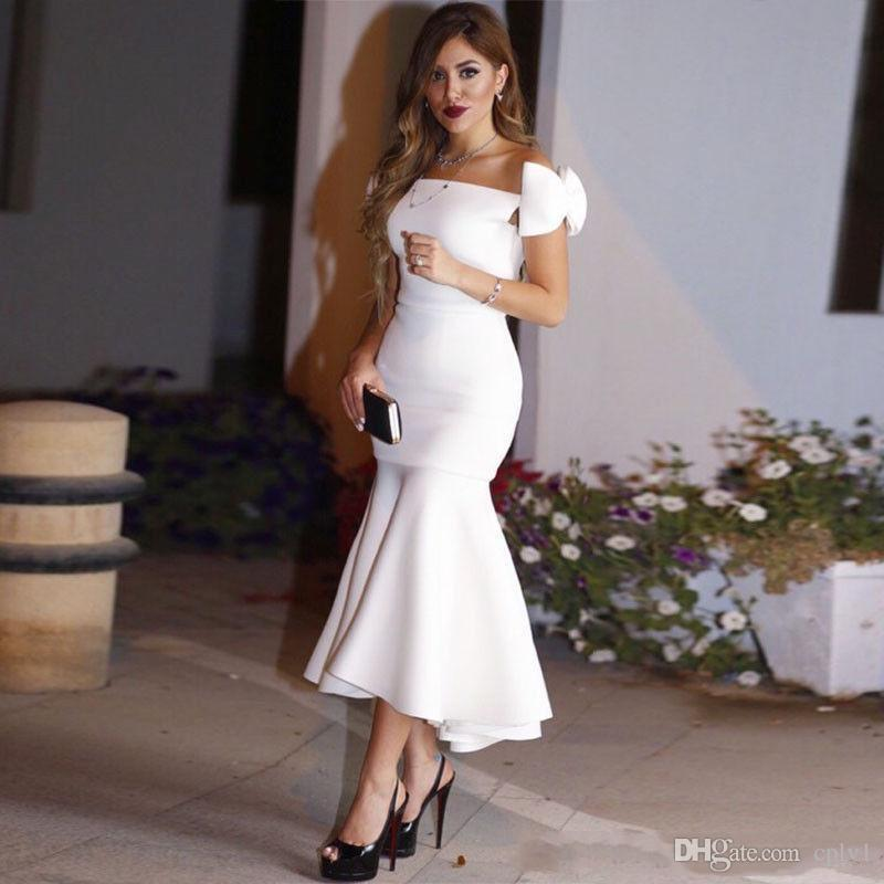 Tea Length White Mermaid Formal Cocktail Dresses Evening Gowns Off Shoulder Bow
