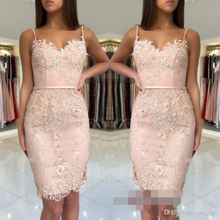 2020 Cheap Sheath Short Mini Blush Pink Homecoming Dresses Spaghetti Straps Lace Appliques Sashes Sweetheart Party Graduation Cocktail Gowns