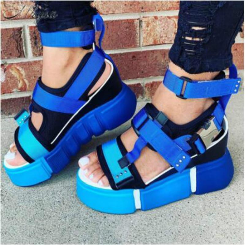 2020 sandalias de la plataforma cuña de las mujeres de los altos talones de las mujeres Hookloop lienzo Verano Zapatos Mujer Sandalias Gladiador Mujer Plus Tamaño