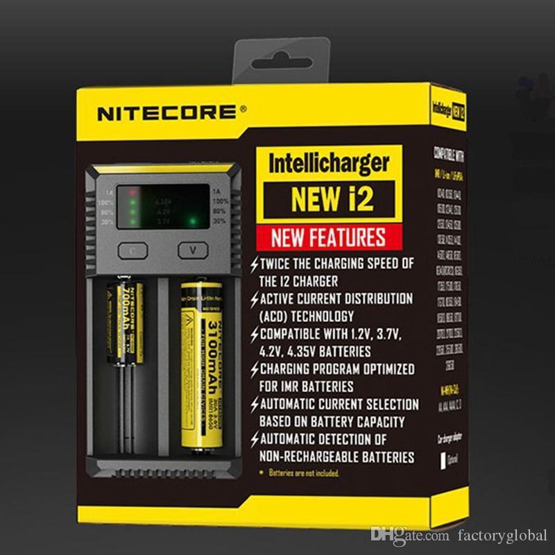 NITECORE 새로운 I2는 지능형 충전기 18650 14500 16340 26650 리튬 이온 배터리 비고 미국 / EU / AU / UK 무료 배송