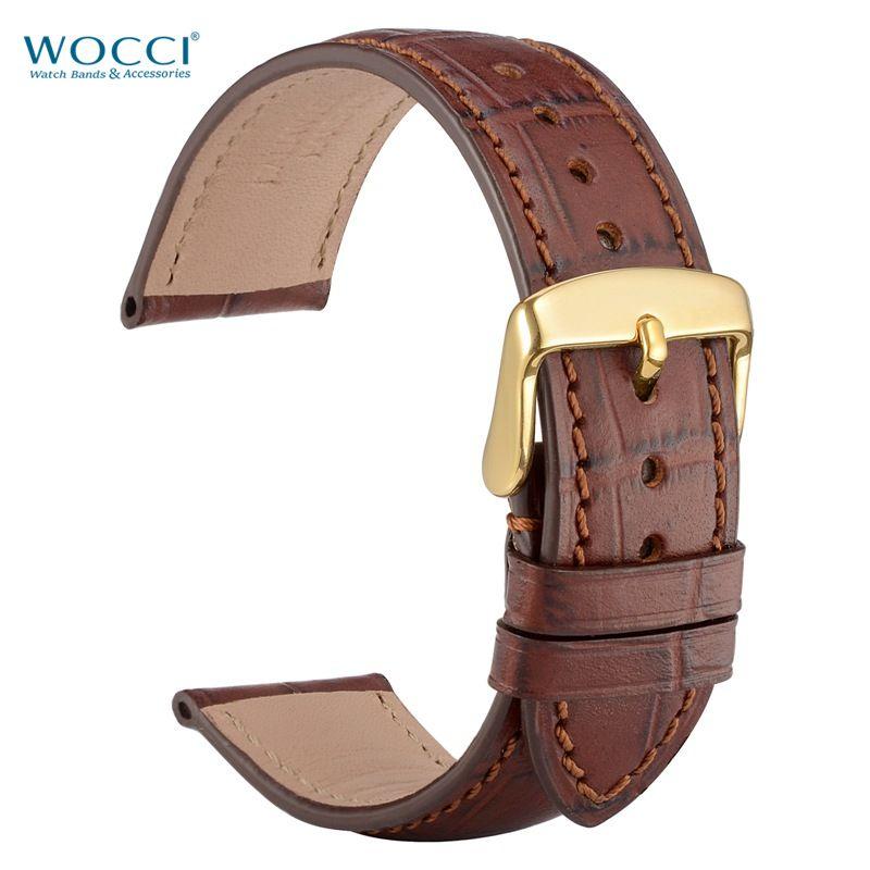 Bracelets de montre en cuir marron gaufré en alligator WOCCI Largeurs de bracelets 18mm, 19mm, 20mm, 21mm, 22mm avec des boucles dorées