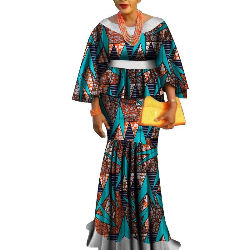 أفريقيا اثنان قطعة مجموعة للنساء الأزياء dashiki الدانتيل حافة الملابس الأفريقية بازان زائد حجم سيدة الملابس للحزب WY3462
