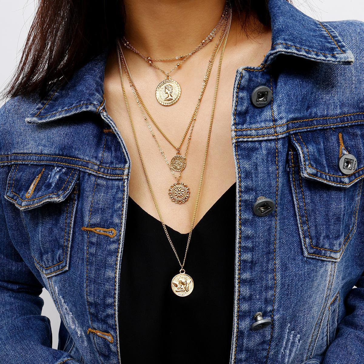 Королева Ангела Ожерелье Серебряная Золотая Монета Многослойные Ожерелья Подвески Ювелирные Изделия Will and Sandy Drop Ship