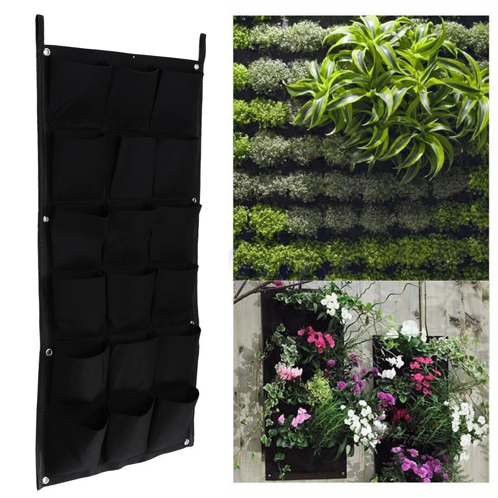18 Taschen Vertikale Garten Blumentöpfe Hängenden Blumentöpfe Grüne Wand Topf und Pflanzer Balkon Gartendekoration 50cm * 100cm