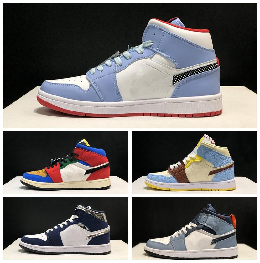 2020 Nueva Facetasm x Zapatos 1Mid Sin Miedo neblina azul de alta calidad de baloncesto de los hombres de las mujeres zapatillas de deporte al aire libre Deportes Diseñador Tamaño 36-45