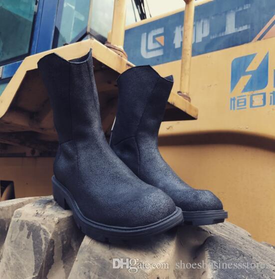 Outono inverno dos homens retro meia botas de couro genuíno preto zip botas de fundo de moda de alta-top botas Martin atacado