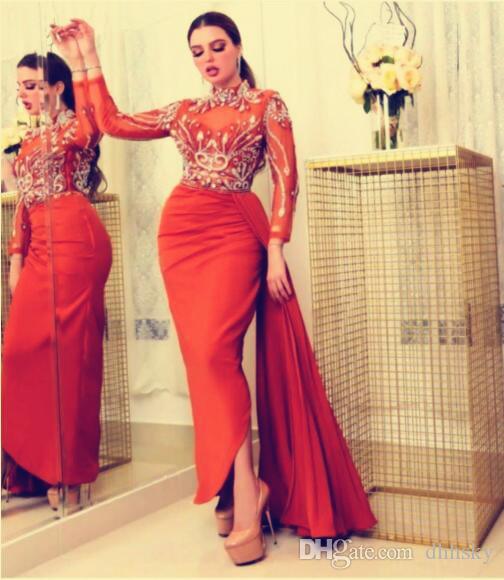 Akşam elbise youself aljasmi Larourjoisie Maxi Elbiseler Kaplumbağa Boyun Kalem Elbise Orta Buzağı Uzun Kollu Peplum Fermuar Düzensiz etek