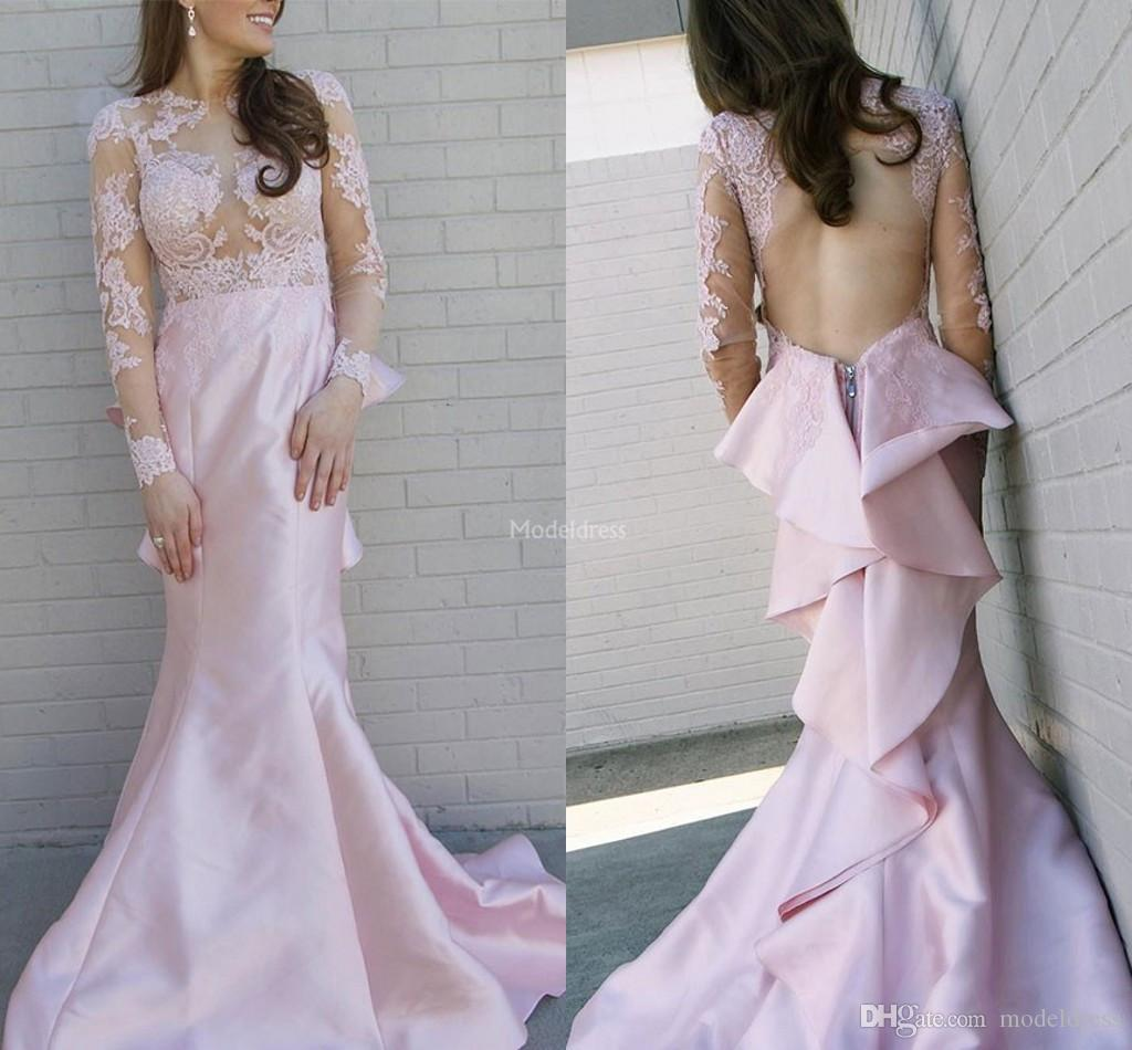 Unique Design Lace Mermaid Prom Dresses 2019 Jewel Neck Illusion Long Sleeves Open Back Party Evening Gown Tiered Sweep Train Vestdio Custom