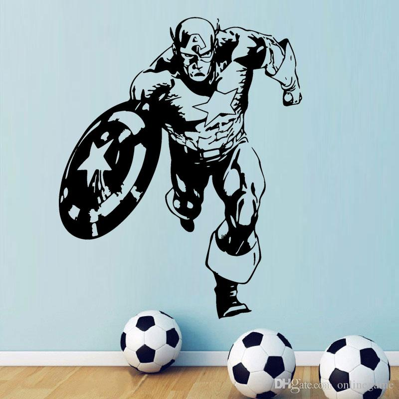 Captain America Sticker Super Hero Wall Decal Marvel Comics Wall Art Vinyl Mural Home Interior Children Room Decoration