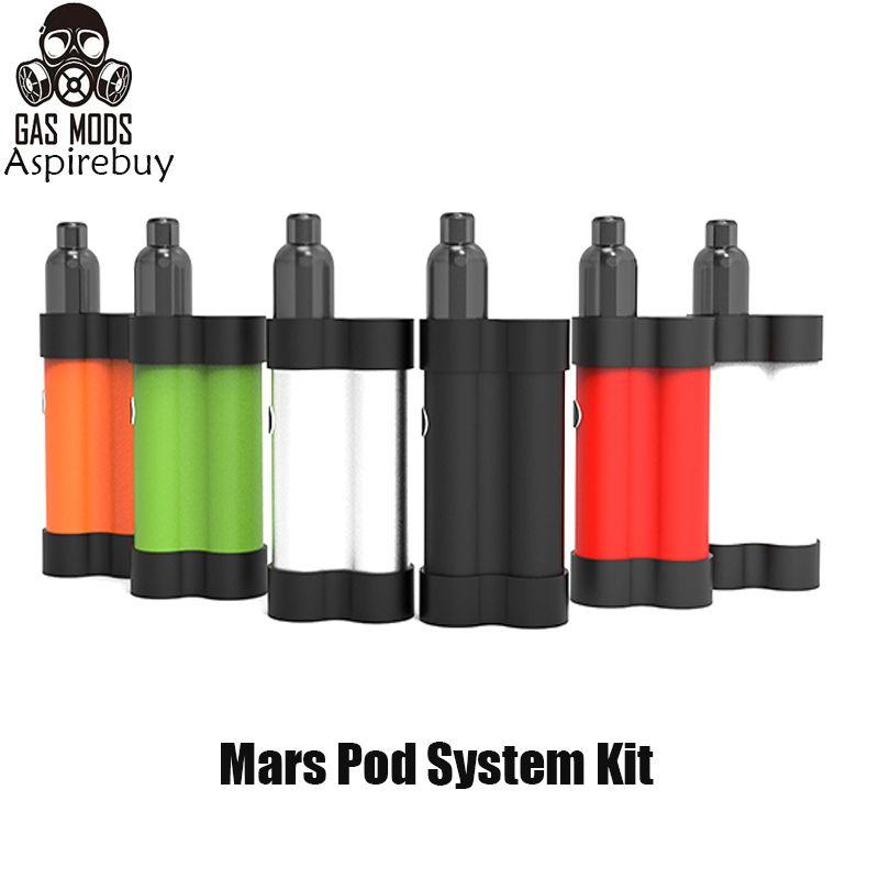 GAS MODS Mars Pod Sistema Kit Built-in 750mAh Ajustável Battery Power 15W quatro níveis com suficiência 2ml Pod Cartucho Side Vape Kit Authentic