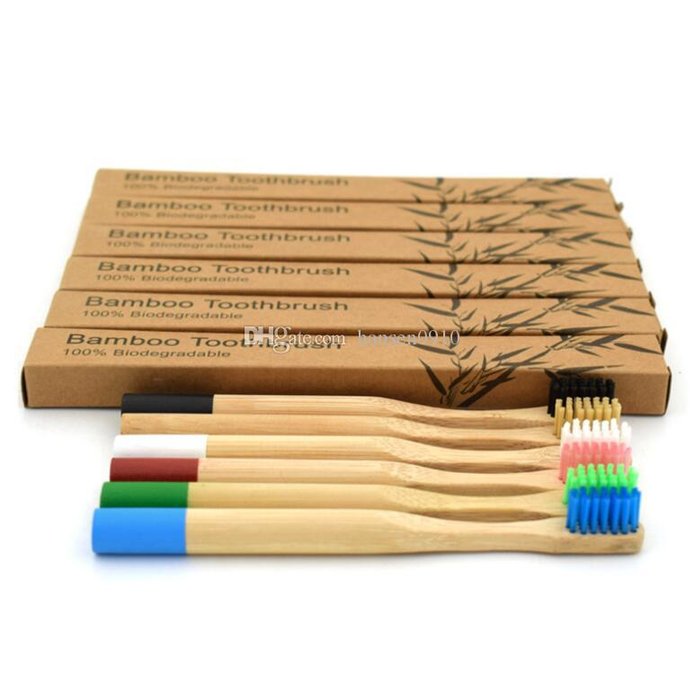 Bamboo Toothbrush 6 Colors Round Bamboo Handle Bristle Wooden Handle Low Carbon Tooth Brush for Children With Toothbrush Case